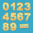 Cheese number alphabet set. Vector illustration. More typeface s