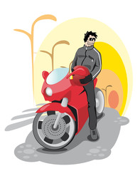 the guy on the red motorcycle