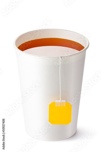 Take-out teacup with tea and yellow label