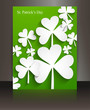 St patricks day Brochure leafed green reflection background vect