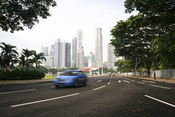 taxi cab driving singapore city