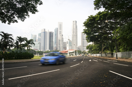 Fotobehang Singapore taxi cab driving singapore city