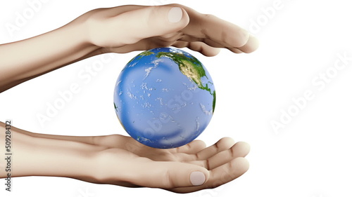 Realistic visualization Earth between hands. seamless 4-16 sec