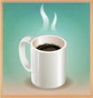 White coffee cup on old paper background