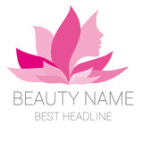 Fototapety Leaf woman pink beauty vector logo