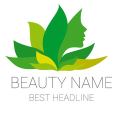 Leaf woman green beauty vector logo
