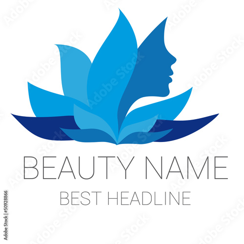 Leaf woman blue beauty vector logo