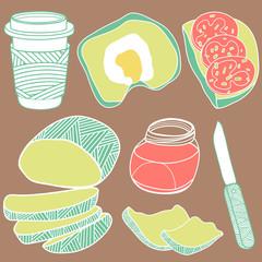 Colorful breakfast set
