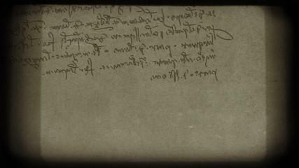 Specific handwriting of Leonardo da Vinci.