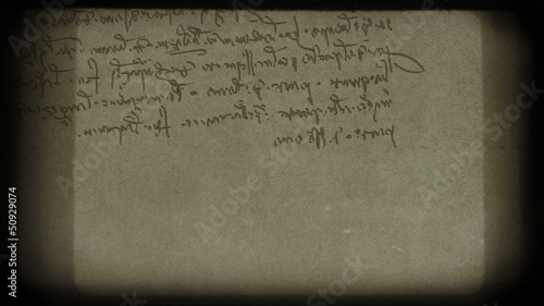 Specific handwriting of Leonardo da Vinci.