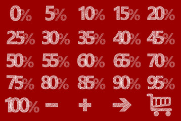 Rabatt Schilder Scribble Prozent Rot