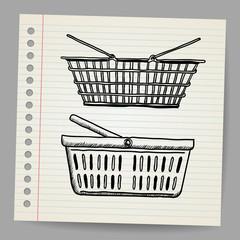 Plastic basket. Doodle style