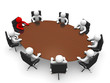 Leadership and team at conference table