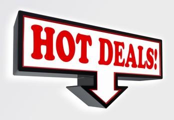 hot deals red and black arrow sign