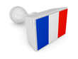 Wooden stamp with french flag.