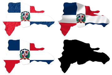 Dominican Republic flag over map collage