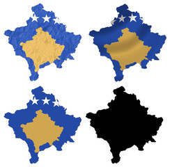 Kosovo flag over map collage