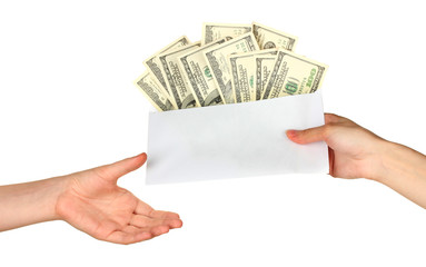 Woman's hand passes the envelope with the salary