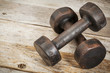 vintage iron dumbbells