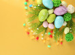 Composition for Easter on yellow background