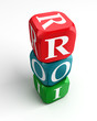 roi on red, green and blue dice