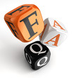 Faq orange black dice blocks