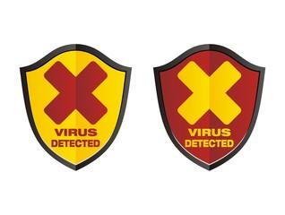 virus detected - shield signs