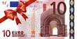 10 Euroschein mit rotem Band und Schleife