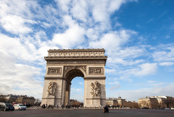 Arc de Triomphe, Paris in nice blue sky day