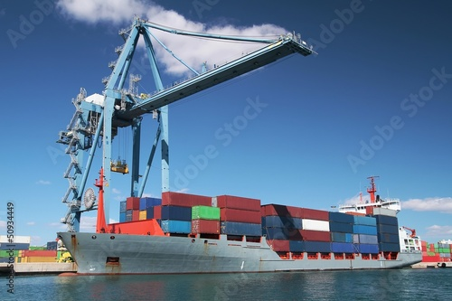 Great container ship working with special crane