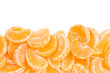 Tangerine, orange segments border on white
