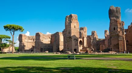 Caracalla springs ruins view from ground panoramic at Rome