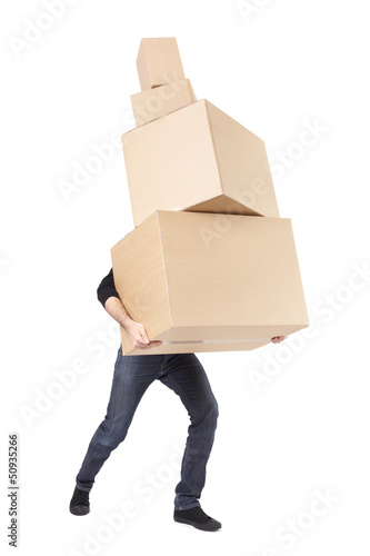 Man lifting cardboard boxes on white, moving day