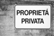 Common private property sign in Italian language