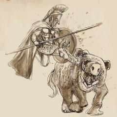 Greek myth and legends (Drawing into vector) - Hercules and Boar