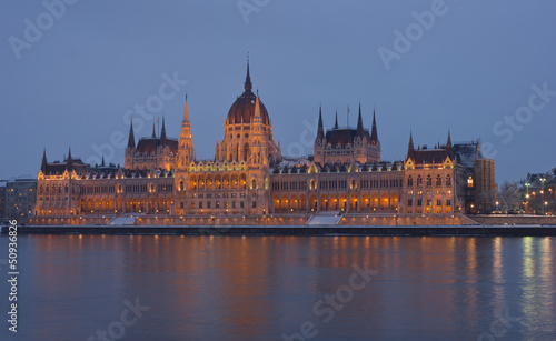 Budapest, Hungarian Parliament Building at sunset