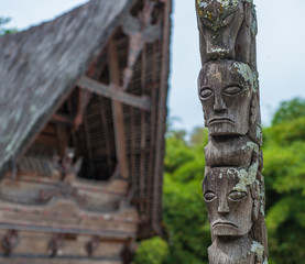 Traditional batak houses, Lake Toba, Sumatra, Indonesia