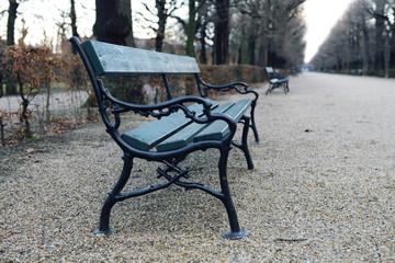 Bench in park of Schönbrunn, Vienna
