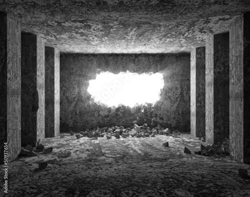 Zdjęcia na płótnie, fototapety, obrazy : Grungy Interior with Broken Concrete Wall