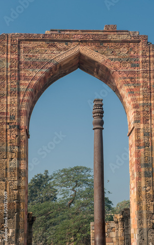 Iron pillar at Qutub Minar, Delhi, India