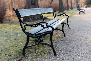 Bench in park of Schönbrunn, Vienna