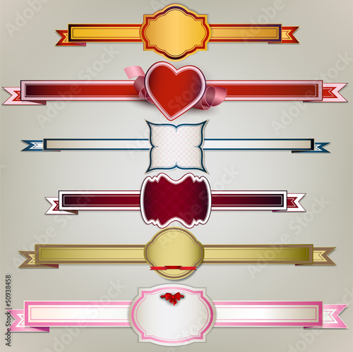 Set of  holiday ribbons and labels. Vector background