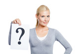 Female in grey sweater keeps paper with question mark