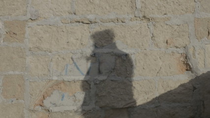 Shadow fighting brick wall