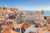 Fototapety Panoramic of Alfama rooftops, Lisboa, Portugal