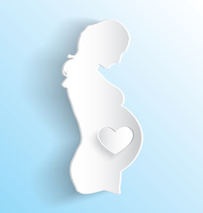 Pregnant Woman with Heart Sticker