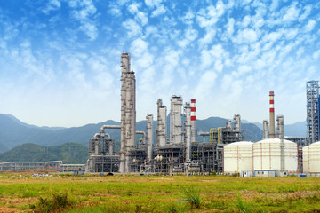 .gas processing factory. landscape with gas and oil industry
