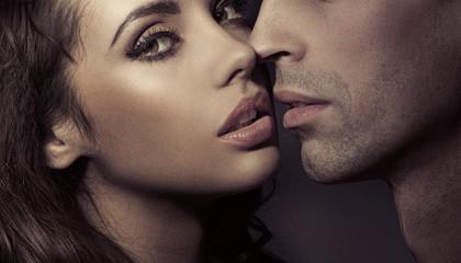 Close up portrait of a loving couple