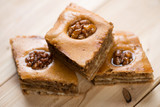 Baklava: asian cuisine made of pastry, chopped nuts and honey