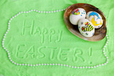 eggs in seashell green sand background